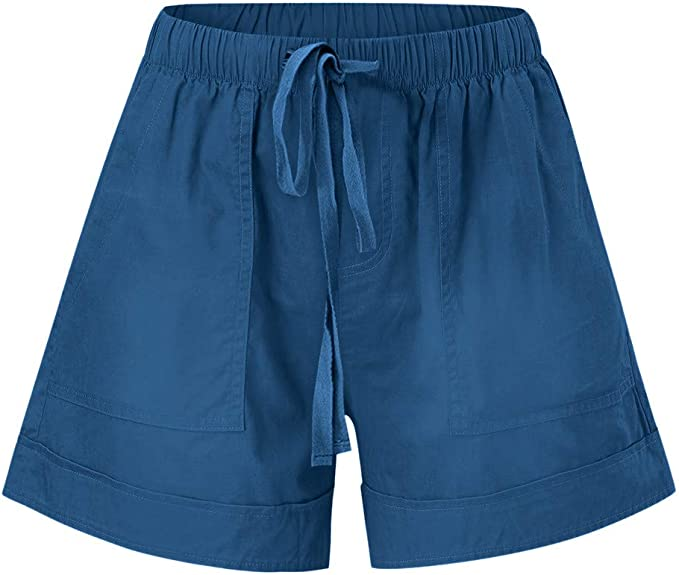 LEXUPE Womens Comfy Drawstring Splice Casual Elastic Waist Pocketed Loose Shorts Pants