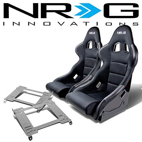 Fiber Glass Bucket Racing Seat (Black)+Mounting Bracket for Acura Integra DC2 ()