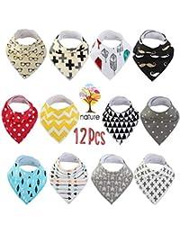 12 Pcs Cotton Baby Bandana Bibs for Infant Newborn Baby...