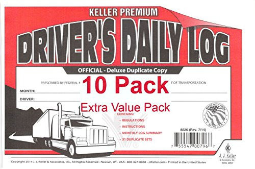 J.J. Keller 8526 701L Duplicate Copy Driver's Daily Log Book Carbonless - Pack of 10