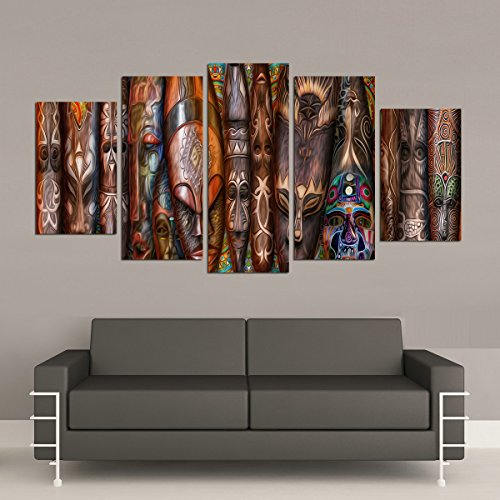 Mask African Art Home Decor (Newartprint - HD Printed Oil paintings Home Wall Decor Art On Canvas African Masks 5PCS No Framed (60inch by 32inch))