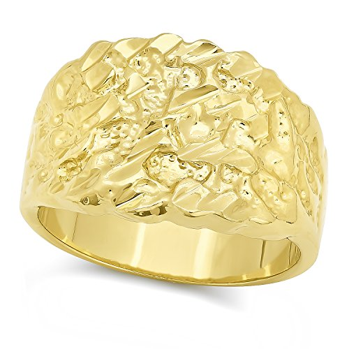 The Bling Factory 14k Gold Plated Nugget Ring, Size 8 + Microfiber Jewelry Polishing Cloth