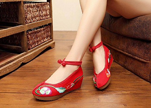 Lazutom Vintage Chinese Style Embroidery Platform Wedge Shoes Casual Walking Shoes Red Mg5ykef