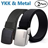 Fairwin Tactical Belt, Nylon Military Style Web Riggers Belt with Metal/YKK Buckle for Casual Outdoor (2 Pack)