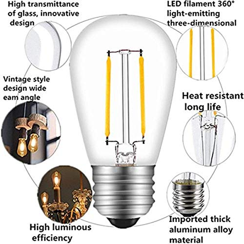 S14 LED Outdoor Edison Light Bulbs for String Light Replacement, E26 Medium Screw Base,Nondimmable, 1.6Watt to Replace 11w Incandescent Bulb, Waterproof, Clear Glass(2700K-15Pack)