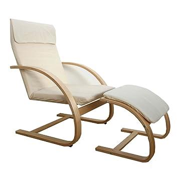 Homestyle4u Schwingsessel Freischwinger Sessel Mit Hocker In Natur