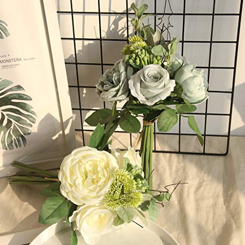 Wffo Top Multicolor Phantom Rose Peony Silk Flowers Bouquet Single Decor Wedding♚♚1 Bunch with 2 Larger Flower Heads, 2 Medium Flower Heads,Several Hydrangea and Grass. (Milky White)