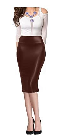 Women High Waist Faux Leather Midi Below Knee Pencil Skirt at ...