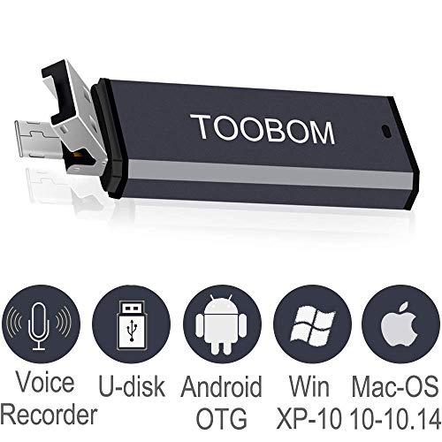 Mini USB Voice Recorder for Lectures,TOOBOM USB and Micro USB 2 in 1 Digital Audio Recorder 8GB Mac Compatible and Android OTG Metal Body Small USB Dictaphone Recording Device,USB Rechargeable (Best Voice Recorder For Android)