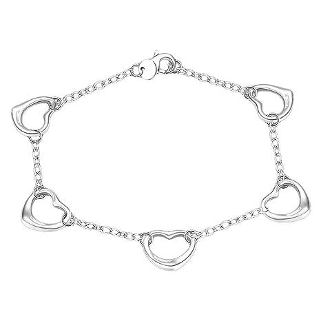 b0a0bb0ae343 joyliveCY 2018 la moda mujer elegante 925 bañado en plata joyas pulsera  cinco esqueleto amor corazón