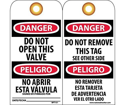 National Marker RPT151G Danger Do Not Open This Valve Spanish Only Tag
