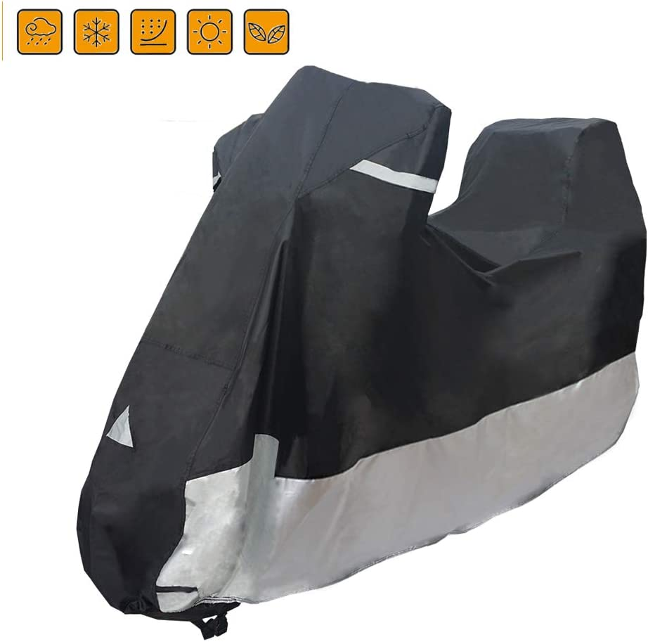 Dirt Bike Coverify Motorcycle Cover Fits up to 104 Sport Bike 420D Waterproof Oxford Fabric XL, Black /& Sliver Outdoor Protection Motorcycle Scooter Cover Cruiser Bike Cover Road Bike