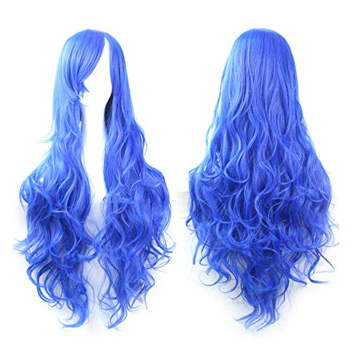Cosplay Wigs,Red Blue Wigs,Women Long Curl Wavy Red Halloween Party Anime Hair,Wigs for Masquerade Party,Cosplay]()