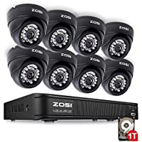 ZOSI Surveillance DVR Kit ,8 Channel DVR 1TB Hard Drive Pre-installed,with 8PCS Indoor Day Night Security Cameras Dome
