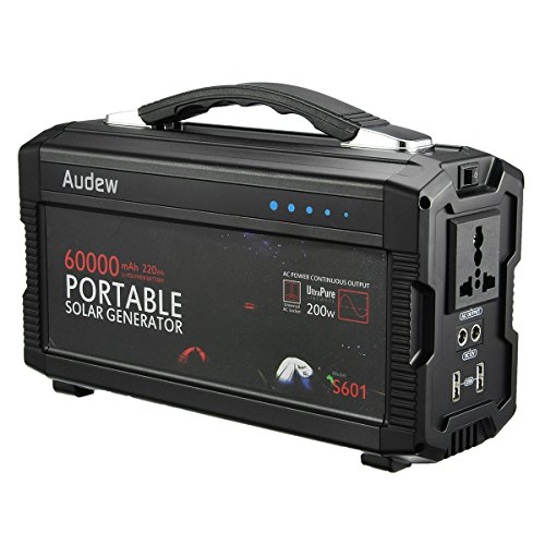 AUDEW Portable Generator Power Inverter 220Wh/60,000mAh , Power Supply with Silent 110V/60Hz, Max 200W AC Power Inverters, 12V/5A DC & USB Ports, Charged by DC Input