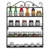 Utheing Durable Multifunctional Metal Kitchen Condiments Storage Shelves, Wall Mounted Storage Rack, Great for Storing Spices, Household Items (black)