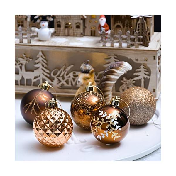 Valery Madelyn Palle di Natale 20 Pezzi 6cm Palline di Natale, Rame da Bosco e Oro Infrangibile Palla di Natale Ornamenti Decorazione per la Decorazione Dell'Albero di Natale 6 spesavip
