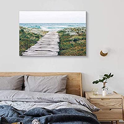 Classic Design, Astonishing Work of Art, Path Green Beach Sea Water Painting Artwork for Home Framed
