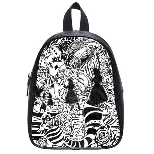 Alice in Wonderland Custom Kid's School High-grade PU Leather Backpack Bag Shoulder Bag (Large) (Kids Customs)