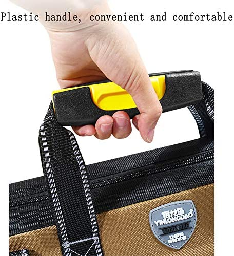 Waterproof Tools Bag Heavy Duty Tools Storage Bag with Wide Open Mouth Professional Tool Bag with Multiple Pockets & Plastic Bottom Electrician Bag (44 * 25 * 30cm)