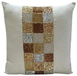 Handmade Ivory Metallic Sequins Beaded Pillows Cover