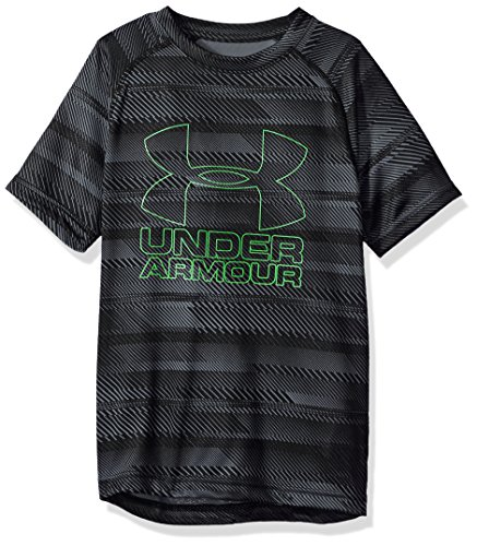 Kids Twist - Under Armour Boys Big Logo Printed T-Shirt,Black/Lime Twist, Youth Medium