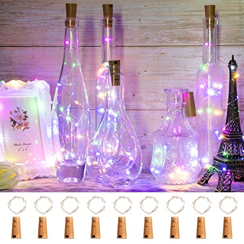 ITART 9 Pack Wine Bottle String Lights, Multicolor 15 LED Cork Light Battery Operated 2.5ft Micro Small Silver Wire Shaped Fairy Light for Wedding Christmas Decor DIY Party