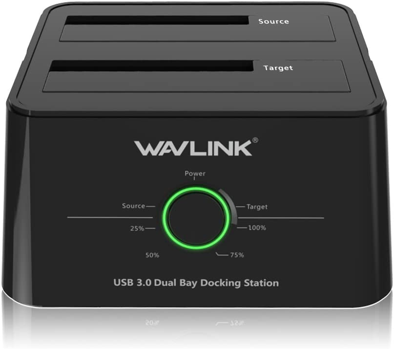 WAVLINK USB 3.0 to SATA I/II/III Dual-Bay External Hard Drive Docking Station for 2.5/3.5 Inch HDD/SSD with UASP (6Gbps), Support Offline Clone Duplicator and Auto Sleep Function [12TB X2 ]-Black