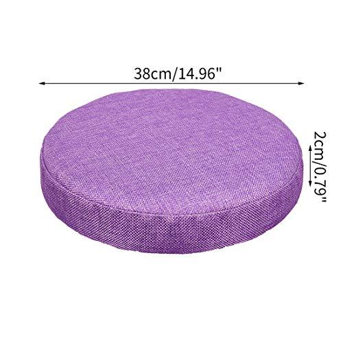 Bverionant Funda Acolchada de Taburete Redonda, Cubierta Elastico con Relleno de Esponja para Asiento de Bar Hogar Comedor Purpura /