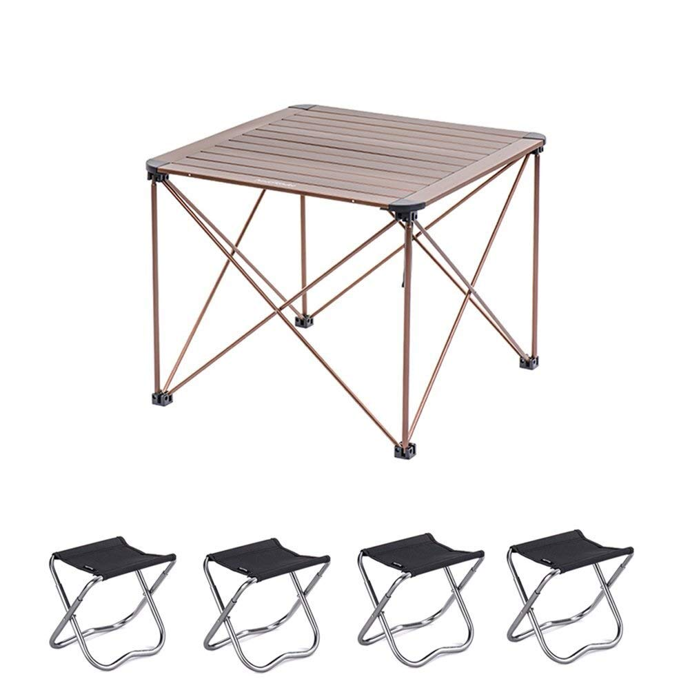 MUMM Picnic Table and Chairs Foldable Folding Portable Camping Table with 4 Chairs for The Courtyard Picnic Party oO (Color : Champagne Black) by MUMM