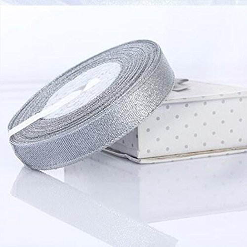 10 Rolls 250 Yards 6mm Golden Silver Ribbon Christmas Gift Wrapping Ribbon Glitter Metallic Sparkle Fabric Ribbon For Wedding Cake Gift Decoration DIY Craft (Moose A Moose Halloween Songs)