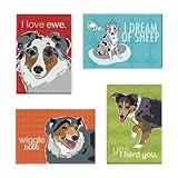 Pop Doggie Australian Shepherd Refrigerator Magnets with Funny Sayings (Set of 4)