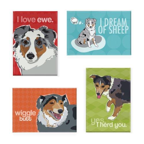 Pop Doggie Australian Shepherd Refrigerator Magnets With Funny Sayings  Set Of 4