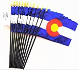 MADE IN USA!! Box of 12 Colorado 4''x6'' Miniature Desk & Table Flags; 12 American Made Small Mini Colorado State Flags in a Custom Made Cardboard Box Specifically Made for These Flags