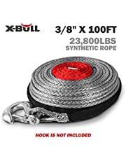 """X-BULL 3/8"""" x 100ft 10mm*30m SK75 Dyneema Synthetic Towing Winch Cable 23000LBS/10432KG Load Capacity With Free Hook"""