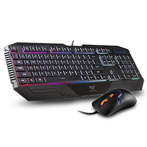 AULA Aurora Backlit Gaming Keyboard and Mouse Combo with Adjustable Backlight (SI-2023 + SI-9013)