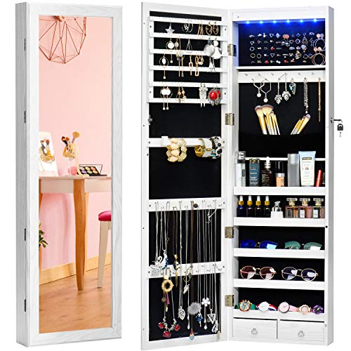 TWING Jewelry Armoire Jewelry Organizer Wall Mounted Lockable 6 LEDs Wall Mounted Jewelry Armoire with Mirror 3 Drawers Door Large Jewelry Armoire Cabinet (White) (White Mirrored Jewelry Armoire)