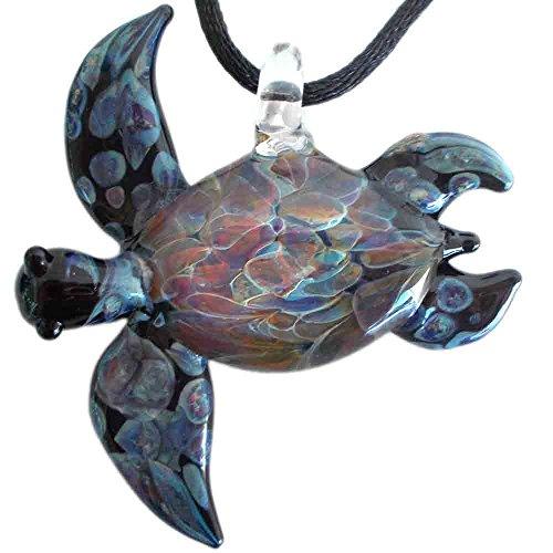 Hand Blown Glass Black Sea Turtle Pendant, Necklace, Focal Bead