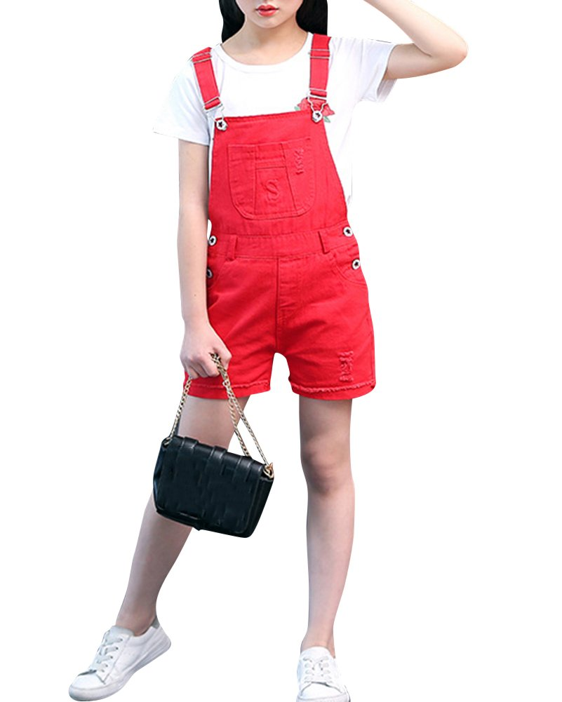 Latzhose Kinder Mädchen Kurze Hosen Shorts Bermuda Sommerhose Overall Einteiler Jumpsuit