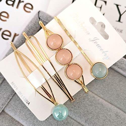 4Pcs/ Set Korea Fashion Metal Hairpins Imitiation Pearl Colorful Beads Hair Clips Hairstyle Design Accessories Hair Styling Tool