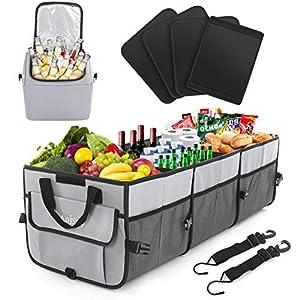 AojSup Extra großer Kofferraum Organizer 92L mit Deckel und 27L Kühltasche, Faltbare Auto kofferraumtasche 1-3…