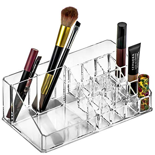 DecorRack Cosmetic Organizer, Clear Acrylic Makeup Storage Holder, Various Compartments of Different Sizes, Store, Display, Easily Access Cosmetics, Hair Accessories, Lipsticks, Jewelry (1 Pack)