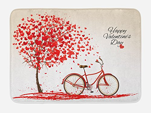 Ambesonne Valentines Day Bath Mat, Romantic Tree with Blooming Hearts with Bike and Petals Vintage Artwork, Plush Bathroom Decor Mat with Non Slip Backing, 29.5 W X 17.5 W Inches, Cream Vermilion -