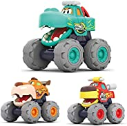MOONTOY Push and Go Baby Toddler Toys Car for 1 2 3+ Years Boys Girls, Monster Trucks Cartoon Animal Early Edu