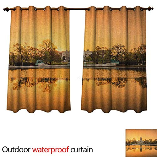 Anshesix United States Outdoor Curtains for Patio Sheer Washington DC American Capital City White House Above The Lake Landscape W84 x L72(214cm x ()