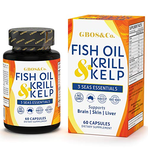 Omega 3 Fish Oil Supplement Combo - Fish, Krill and Kelp Oil Combo - 60 Rapid Release Softgels, Dietary Supplement Made for Optimum Nutrition. 3 Seas Essentials.