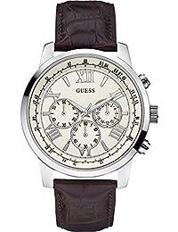 Guess W0380G2 45mm Stainless Steel Case Brown Calfskin Mineral Men's Watch