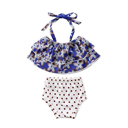 Mornbaby Baby Girl Halter Floral Polka Dots Two Pieces Bikini Swimsuit Set Tankini Swimwear Bathing Suits (Blue, 2-3years) 3 Piece Polka Dots Bikini