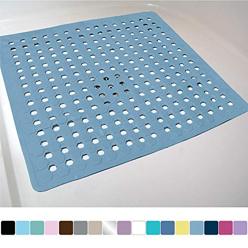 Gorilla Grip Original Patented Bath, Shower, and Tub Mat, 21x21, Machine Washable, Antibacterial, BPA, Latex, Phthalate Free, Square Bathroom Mats with Drain Holes, Suction Cups, Sky Blue Opaque