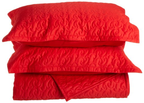 Tuscany Fine Linens (Tuscany Fine Italian Linens Egyptian Cotton Quilted Coverlet Set, Queen, Bright Red)